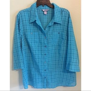 Koret Semi Sheer Button Up Blouse Turquoise 20W